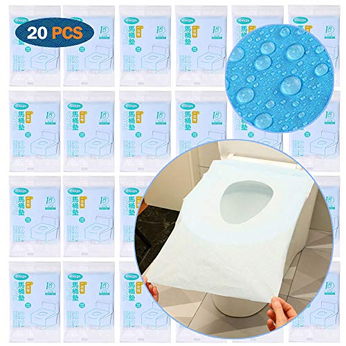 ARTKIVA - 20 PCS Protector WC Desechable Impermeable, Protector Water Desechables Papel Cubre Inodoro Paquete Protectores De WC para Niños Adulto