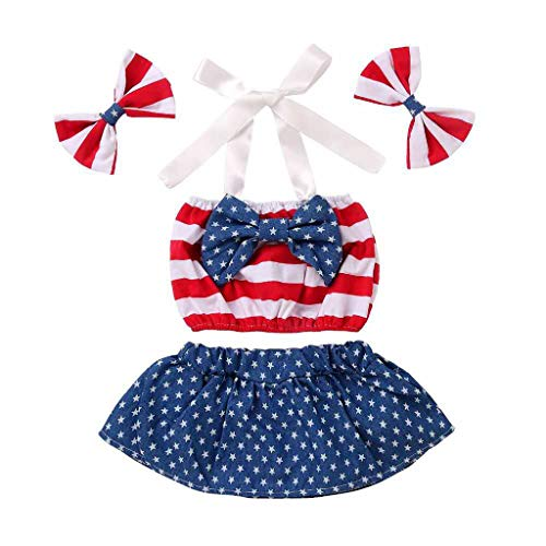 Infant Baby 4th of July Star Patriotic Striped Bow Tops Shorts +Headband Outfits Red