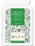 Complejo de superalimentos orgánicos - 100 cápsulas - Suplemento dietético vegano con 12 frutas, verduras y hierbas orgánicas que incluyen cebada activada pre-germinada, espirulina y pasto de trigo.