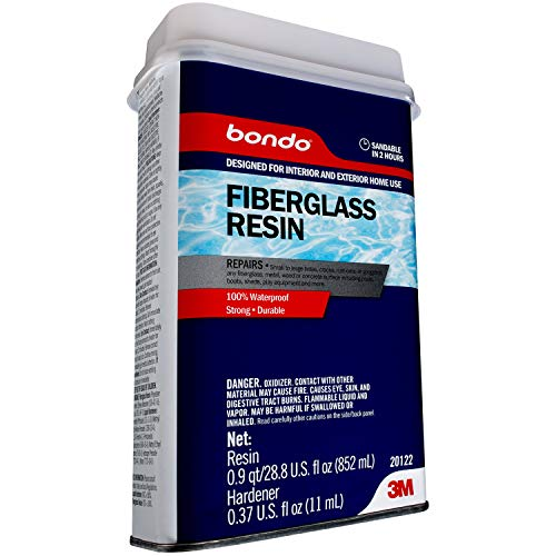 Bondo Fiberglass Resin, Interior and Exterior Home Use, 100% Waterproof, Strong, Durable, 28.8 fl oz