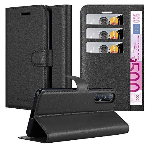 Cadorabo Hülle für Oppo Find X2 neo in Phantom SCHWARZ - Handyhülle mit Magnetverschluss, Standfunktion & Kartenfach - Hülle Cover Schutzhülle Etui Tasche Book Klapp Style