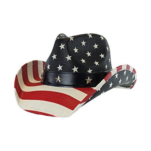 Men's Western Style Shapeable Cowboy Hat - USA, American Flag, Patriotic, America