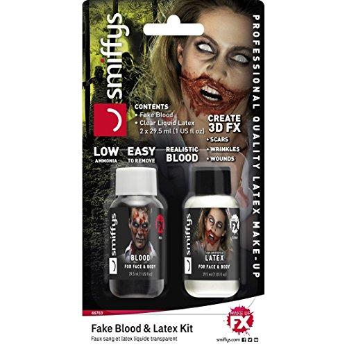 Amakando Fake Blut & Latexmilch - 30ml - mit Flüssiglatex u. Kunstblut Flüssiges Latex u. Filmblut...