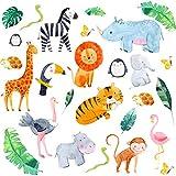 Pegatinas de pared para habitación de bebé: Safari elegante, Animales de la jungla vinilos de pared decorativos infantiles, pegatinas de pared de la selva guardería de bebés. Vinilos Infantiles Pared