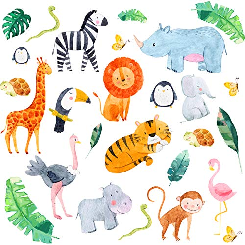 Animal Wall Stickers Kids, Jungle Wall Stickers, Safari Animals Nursery Wall Stickers for Bedrooms. Stylish Colourful Baby Wall Stickers for Nursery
