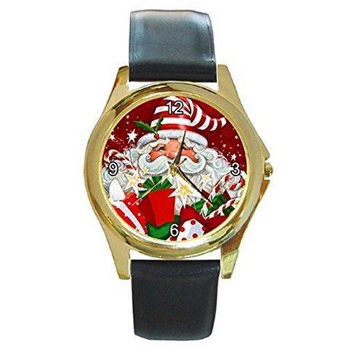 Weihnachten EIN modernes Santa in Streifen Kappe/Hut auf einem Damen oder Mädchen Gold Tone w.