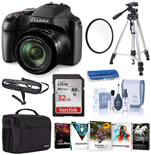 Panasonic Lumix DC-FZ80 4K Digital Camera, 18.1 Megapixel, 60x Zoom 20-1200mm Lens Starter Bundle with Case, Tripod, UV Filter, 32GB SD Card and Accessories