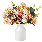 Everlasting Silk Flowers Artificial Floral Arrangements-Faux Pink Rose & Eucalyptus Bouquet Table Centerpieces - Ceramic White Vase with Non-Slip Base Included - Fake Plant Decor Home, Dining Room