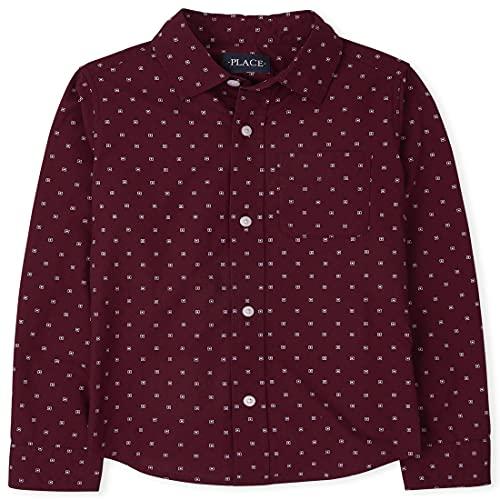 The Children's Place Boys' Long Sleeve Print Poplin Button Down Shirt, Redwood, Small