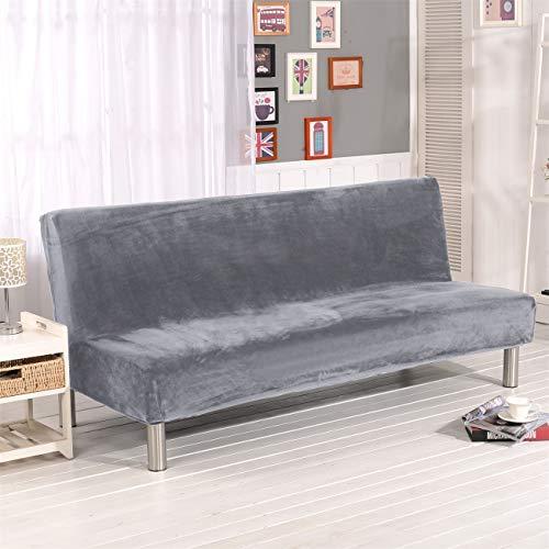 Sofa-Schonbezug aus Samt und Plüsch, 3-Sitzer, für den Winter, dicker Stretchstoff, Sofabettbezug, einfarbig, rutschfest, elastisch, passt auf Klappsofa ohne Armlehnen silbergrau