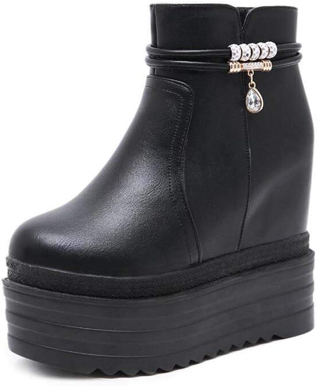 12,5cm Wedge Heel Ankle Stiefelie Platform schuhe damen Sweet Round Toe 6.5cm Platform Rhinestone Martin Stiefel Eu Größe 34-39