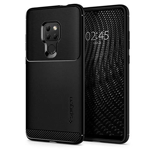 Armorhülle für Huawei Mate 20 Hülle Robuste TPU Silikon Schutzhülle Stylisch Karbon Design Handyhülle Case - Schwarz
