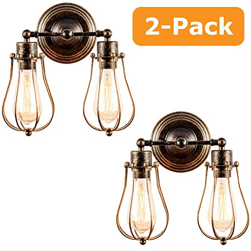 Industrial Wall Sconce 2 Pack, Luling Rustic Loft Antique Wall Lights Wire Cage Adjustable Socket Edison Vintage Metal Retro Lamp Fixtures for Bedroom Gazebo (No Bulb) (with 2 Light) (Bronze)