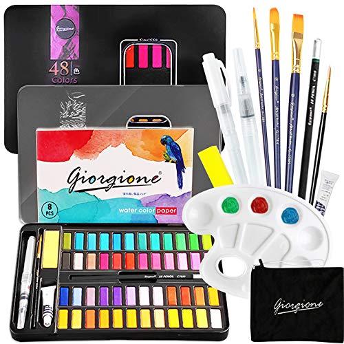 Set de Pintura de Acuarela,Set de pintura de acuarelas,48 Colores y Accesorios,Caja de Tapa Dura de Aleación de Aluminio,Juego de Pintura de Acuarela Colores Brillantes,Fáciles de Colorear