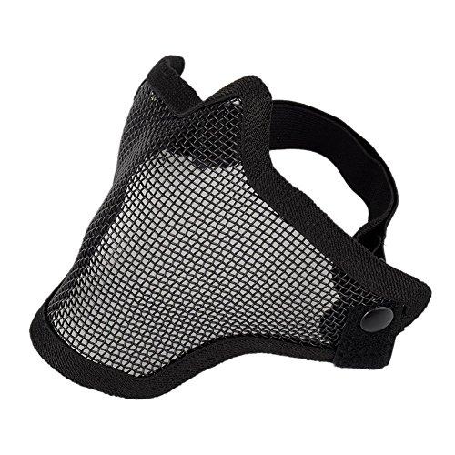 Pandaren Maglia di rete metallica faccia mezza maschera protettiva per la caccia del airsoft all'aperto Cs gioco di guerra paintball (nero)
