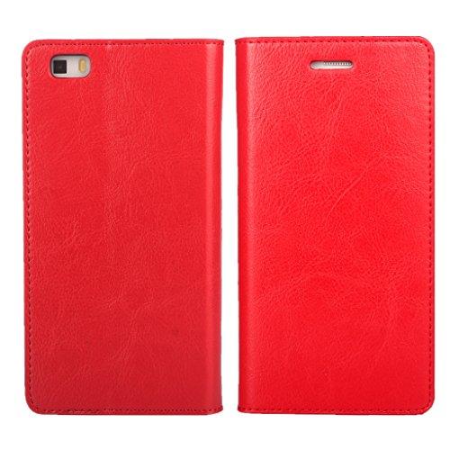 iCoverCase Huawei P8 lite/Huawei LUMIERE 503HW ケース 手帳型 二重加工の牛革 シンプル レトロ 携帯 カバー カードポケット スタンド機能 財布型 カバー【選べる4色】レッド