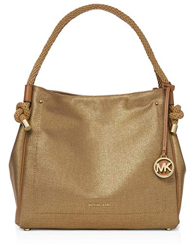 """Washed Hemp Canvas with leather trim Magnetic snap closure, 8-1/2""""L rope handles 1 interior zip pocket & 6 slip pockets Gold-tone exterior hardware, Logo tassel 14""""W x 11-1/2""""H x 6""""D (width is measured across the bottom of handbag)"""