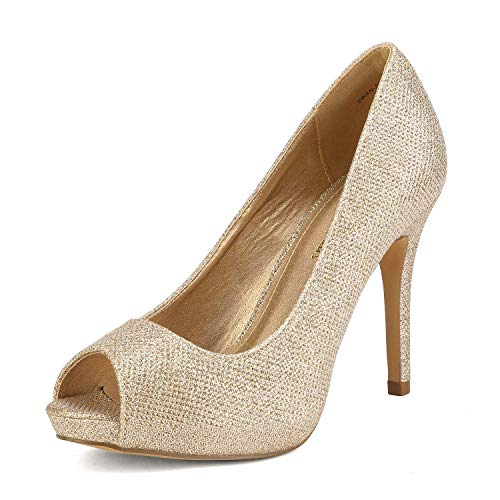 DREAM PAIRS Damen Peeptoe Plateau Pumps SWAN-26 Gold Glitter Größe 10 US / 41 EU