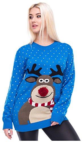 Loomiloo Christmas Sweater Damen Weihnachtspullover Weihnachten Pulli Xmas REH Bambi mit roter Puschelnase (XL, Rudolph Blau)