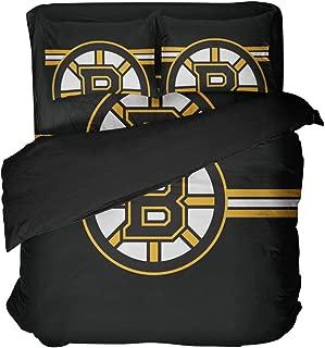 4PCS Boston Bed Set Hockey Quilt Cover SetsTeam Bedding,Hockey Bedsheet Queen 4 PCS Black Yellow Duvet Covers