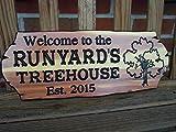Evan332Eddie Baumhaus-Schilder für draußen, Spielhaus-Schild, personalisierbar, mit Familienname,...