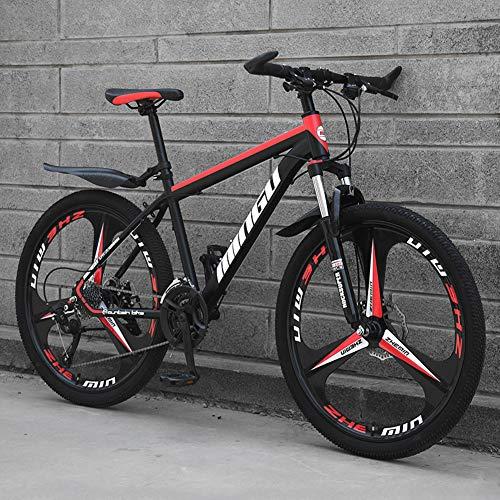 AP.DISHU Mountain Bike in Acciaio al Carbonio 21 velocità Forcella con Freno A Doppio Disco E Forcella Anteriore da 24/26 Pollici Mountain Bike,Rosso,24inch