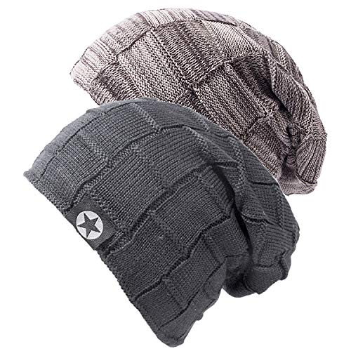 2 Pack Mens Hats Slouch Beanie Hat Knitted Baggy Skull Cap Black Beanies Hats for Mens Gifts
