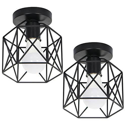 FAISHILAN 2 Pack Ceiling Light Fittings, Industrial Semi-Flush Mount Lampshade Ceiling, Retro Cage Light Farmhouse Black Ceiling Light Fixture for Hallway, Bedroom, Living Room, Dining Room