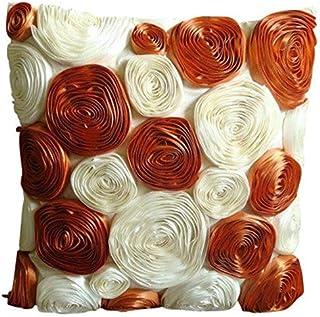 Luxe Rouille Taies D'Oreiller, Fleurs Ruban Thème Floral Couverture D'Oreillers, 50x50 cm Taie D'Oreiller, Floral Moderne ...