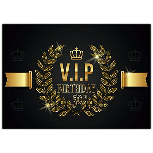 A4 XXL 50 Geburtstag Karte VIP 50th BIRTHDAY mit Umschlag - edle Geburtstagskarte Glückwunschkarte zum 50. Geburtstag für Mann Frau von BREITENWERK