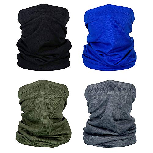 OVAREO Multifunktionstuch Schlauchschal Herren Damen 4 Stück Bandana Gesichtsmaske Elastisch Weich Verschleißfest Motorrad Halstuch Balaclava Loop-Schal für Yoga Laufen Wandern Radfahren