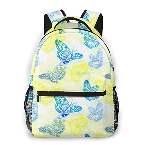 Qucoost Laptop Schoolbag Casual Lightweight Travel Sports Backpack Unisex(Sunshine Mariposa)