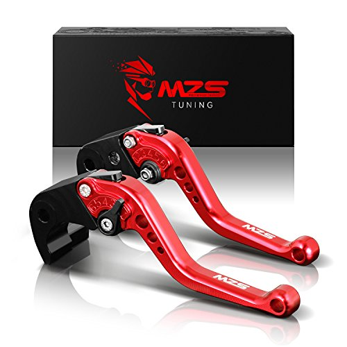 MZS Short Brake Clutch Levers for Yamaha YZF R3 2013-2018/ YZF R25 2013-2018/ MT-03 2015-2018/ MT-25 2015-2018 Red