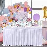 HBBMAGIC Falda de Mesa de poliéster para Fiestas, decoración para Bodas, cumpleaños, Candy Bar, Navidad, 275 x 76 cm