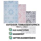 JEMIDI Terrassenteppich Außenteppich Balkonteppich Teppich Garten Außen Outdoor Läufer 180cm x 120cm (Blau) - 2
