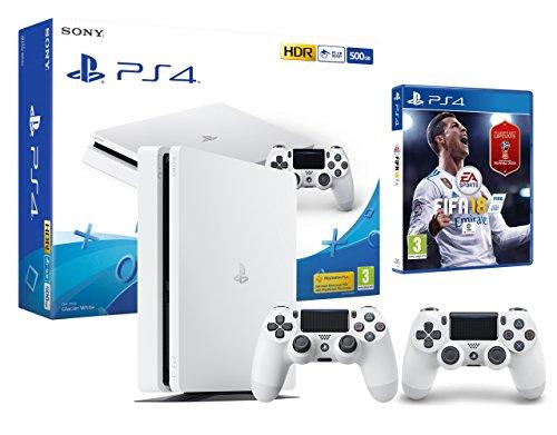 PS4 Slim 500Gb weiß Playstation 4 Konsole inkl. FIFA 18 + 2 DualShock Controller