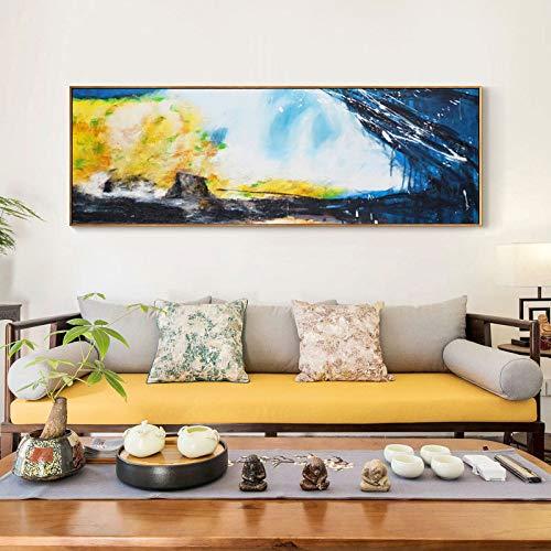 N / A Pintura al óleo Abstracta Cartel Mural sobre Lienzo. Cuadro Abstracto Amarillo y Azul Marino Utilizado para la decoración de la Sala sin Marco 30x90cm