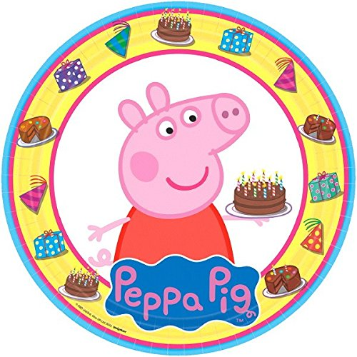 American Greetings AM-551499 Peppa Pig Round Plate (8 Count), Yellow/Blue, 9'