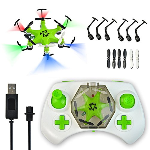Mokasi 6 Propellers Mini Pocket Drone, 2.4Ghz 4CH 6-Axis Gyro RC Micro Quadcopter with 3D Flip, Headless Mode,Nano Copters RTF Mode 2 Green