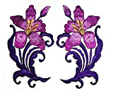 1 Pair of Flowers. Purple Orchid Flowers Cartoon Embroidered Iron on Patch Craft Handmade Fashion Beautiful Wild Flowers Embroidery for Clothing Polo T- Shirt Jackets Hat Backpacks or Birthday Gifts