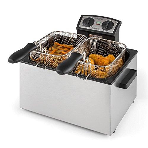 Klarstein QuickPro XXL 3000 - Fritteuse, 3000 Watt, 5 Liter Volumen, bis zu 1,5 kg Frittiergut, bis 190 °C, stufenlos regelbar, 3 Frittierkörbe, 3 Griffe, silber