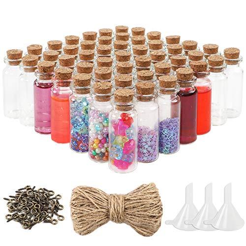 CDWERD 60 Stück 10ml Mini Glasflaschen Wunsch Flaschen mit Korken klein Glasfläschchen mit 60...