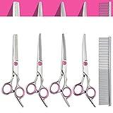 Swify 5pcs Edelstahl-Haustier-Haar-Scheren Schneideschere zur Fellpflege für Hunde inkl.Kamm und Tuch (Rosa)