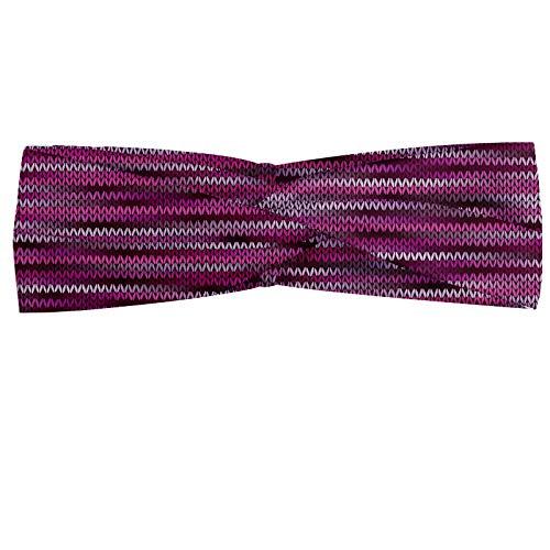 ABAKUHAUS Magenta Hoofdband, Vintage Brei Patroon, Elastische en Zachte Bandana voor Dames, voor Sport en Dagelijks Gebruik, violet Fuchsia