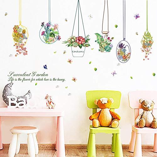 Muursticker, creatief, modieus, mand om op te hangen, bloemen, planten, potten, afneembaar, zelfklevend, knutselen, kinderkamer, vinyl, woonkamer, slaapkamer, decoratie