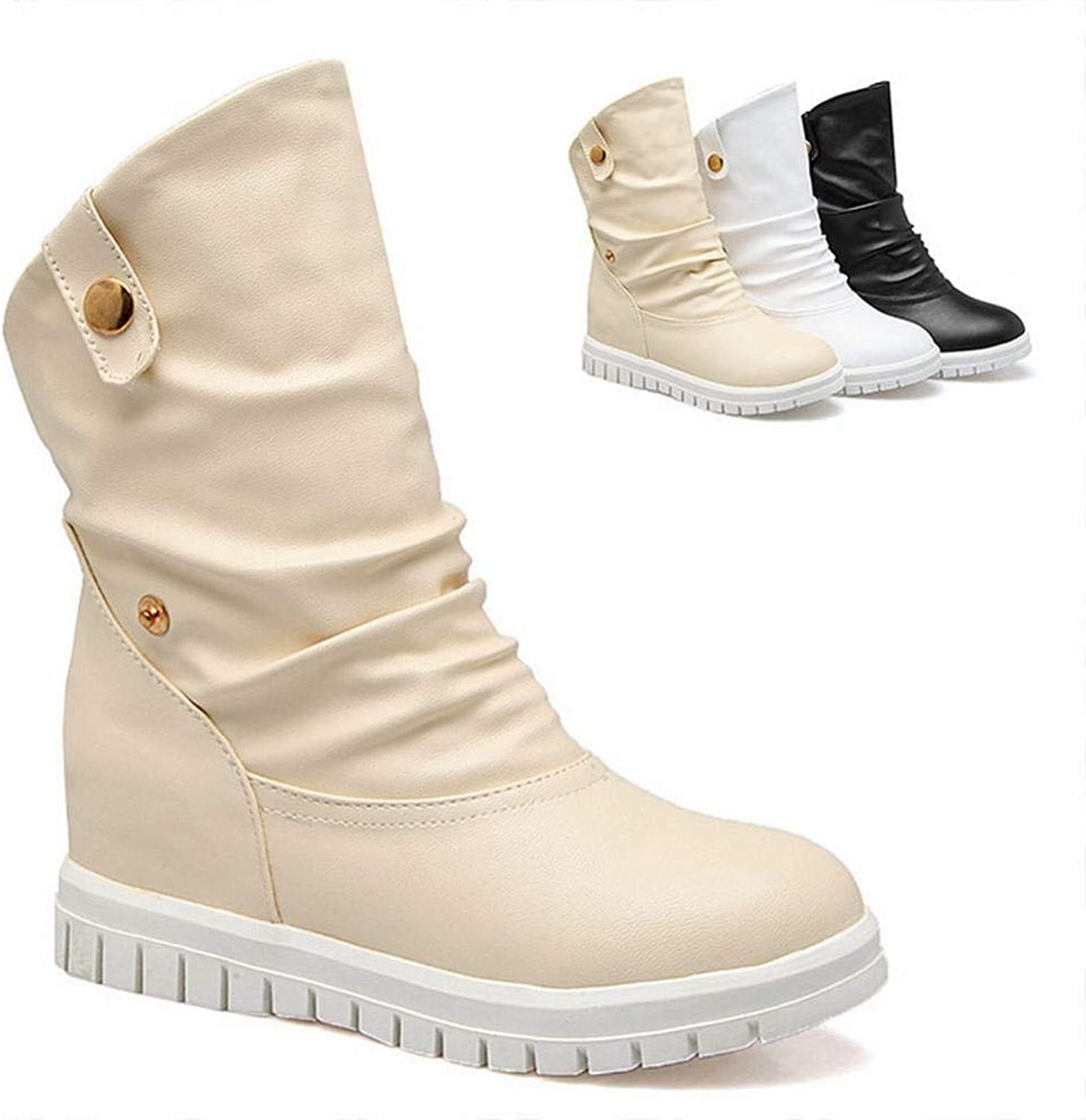 Women's shoes - High Boots in Autumn and Winter British Low Heel Warm Boots Flat Boots 34-43