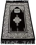 Muslim Gebet Teppich?Islamische janamaz sajadah Namaz sajjadah Türkisch Gebet Matte Teppich (schwarz)