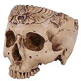 Cabeza Humana cráneo Maceta Jardinera cráneo contenedor Resina réplica cráneo Accesorio de Halloween decoración de la Barra casera-Disfraz de Halloween