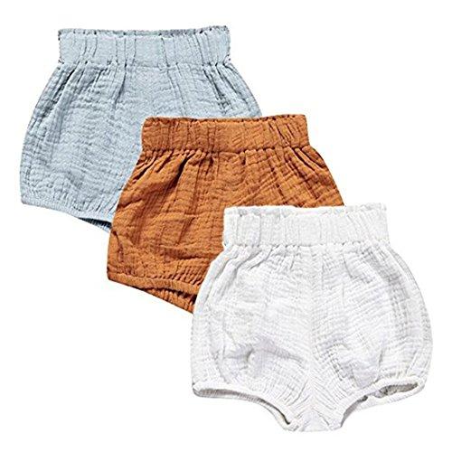 Kids Tales 3 Pack of Kids Tales Kleinkind Baby Mädchen Jungen Cotton Linen Sommer Blend Cute Bloomer Shorts 12-18 Monate /Tag73