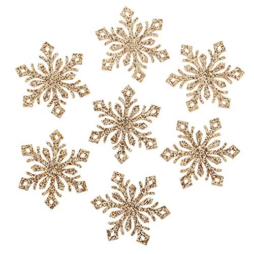 WINOMO 30 piezas de oro DIY Glitter copo de nieve apliques horquillas parches para patchwork scrapbooking manualidades clips para el pelo accesorios decoraciones de Navidad